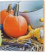 Pumpkins Decorations Wood Print