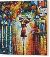 Rain Princess - Palette Knife Landscape Oil Painting On Canvas By Leonid Afremov Wood Print