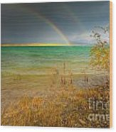 Rainbow And Dark Clouds Over Large Lake Wood Print