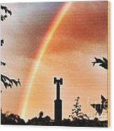 Rainbow Over The City Wood Print