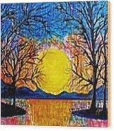 Raining Sunset Wood Print