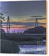 Charleston Bridge Low Tide Wood Print