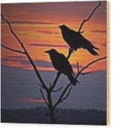 2 Ravens Wood Print by Ron Day