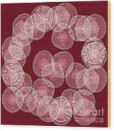 Red Abstract Circles Wood Print