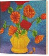 Red And Orange Flowers Wood Print