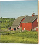Red Barn And Fence On Farm In Maine Wood Print