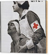 Red Cross Poster, 1917 Wood Print