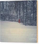 Red Flag On The Snow Covered Golf Course Wood Print