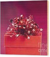 Red Gift Box Wood Print