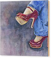 Red Heels And Jeans Wood Print