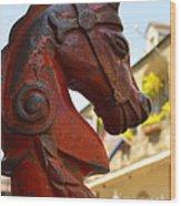 Red Horse Head Post Wood Print