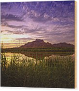 Red Mountain Reflections  Wood Print