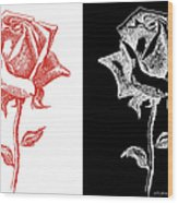 2 Red Rose Drawing Combo Wood Print