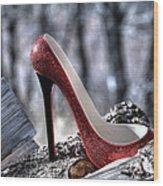 Red Shoe Wood Print