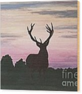 Red Stag At Dusk Wood Print
