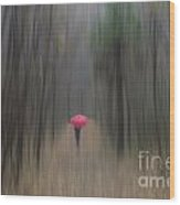 Red Umbrella In The Forest Wood Print