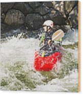 Red Whitewater Kayak Wood Print