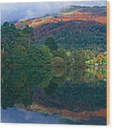 Reflection Of Hills In A Lake Wood Print