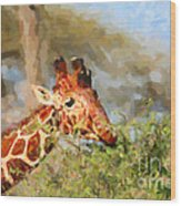 Reticulated Giraffe Kenya Wood Print