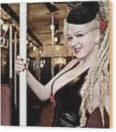 Ride The Pinup Express Wood Print