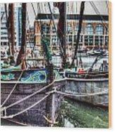 River Thames Sailing Barges. Wood Print