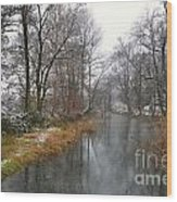 River With Snow Wood Print