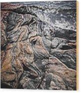 Rock Formations At Georgian Bay Wood Print