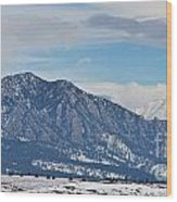 Rocky Mountains Flatirons And Longs Peak Panorama Boulder Wood Print