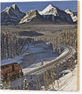 Rocky Mountains In Winter Wood Print