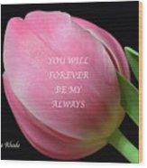 Romantic Pink Tulip Wood Print