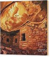 Roof Falling In Ruin Utah Wood Print