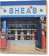 Route 66 - Shea's Filling Station Wood Print