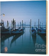 Row Of Gondolas At Sunrise Venice Italy Wood Print