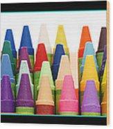Rows Of Crayons Wood Print