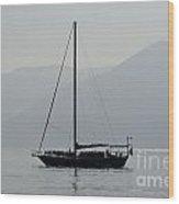 Sailing Boat And Mountain Wood Print