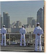 Sailors Man The Rails Aboard Wood Print