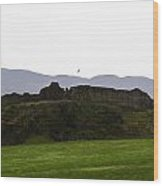Saltire And The Ruins Of The Urquhart Castle In Scotland Wood Print