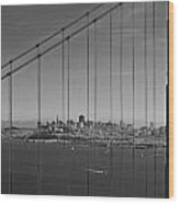 San Francisco Through Golden Gate Bridge Wood Print by Twenty Two North Photography