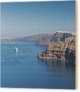 Santorini Caldera Wood Print