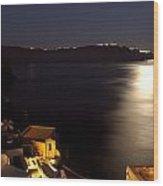 Santorini Caldera Moonlight Wood Print