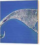 Satellite View Of Cape Cod National Wood Print