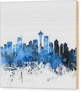 Seattle Washington Skyline Wood Print