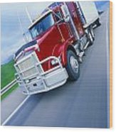 Semi-trailer Truck Wood Print