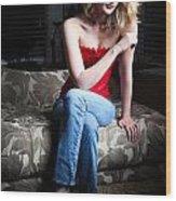 Sexy Blond Sitting Wood Print