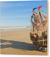 Ship Model On Summer Sunny Beach Wood Print