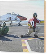 Shooter Signals To The Pilot Of A T-45c Wood Print