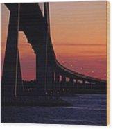 Sidney Lanier Bridge At Sunset Wood Print