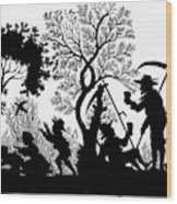 Silhouette Daily Life Wood Print