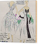 Vintage Fashion Sketches And Fabric Swatches Wood Print