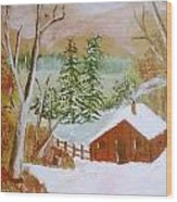 Ski Cabin Wood Print